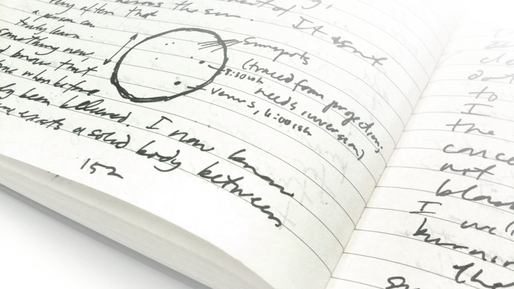 Photograph of notebook pages, with sketch of transit